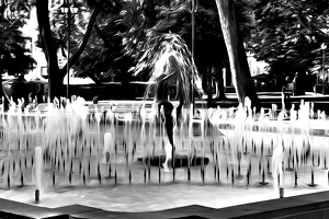 city garden fountain 2020.02 as dream bw